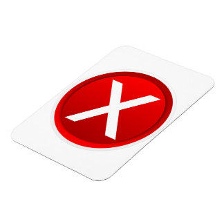 Red X - No - Symbol Rectangle Magnet