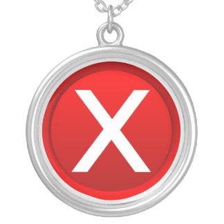 Red X - No - Symbol Round Pendant Necklace