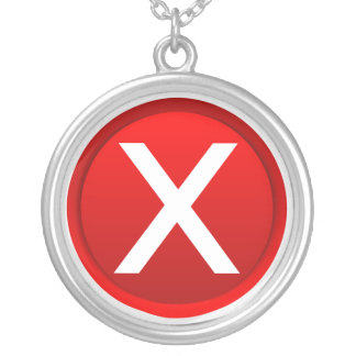 Red X - No - Symbol Silver Plated Necklace