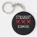 Red X Straight Edge Black Basic Round Button Keychain