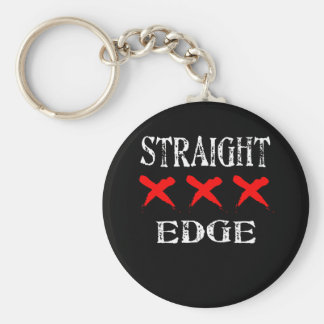 Red X Straight Edge Black Keychain