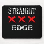 Red X Straight Edge Black Mouse Pad