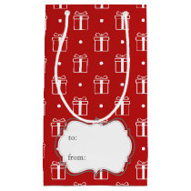 red xmas gifts winter holidays pattern small gift bag