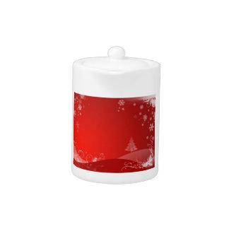 red xmas teapot