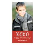Red XOXO Valentine Photo Card Customized Photo Card