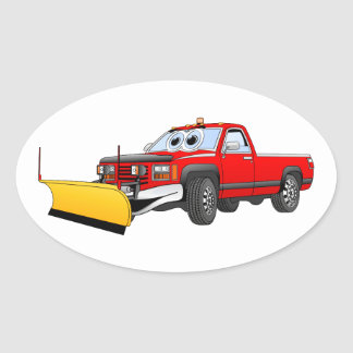 Red Y Pick Up Snow Plow Cartoon Oval Sticker