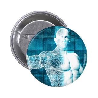 Red y protección de datos de la seguridad pin redondo de 2 pulgadas