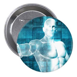 Red y protección de datos de la seguridad pin redondo de 3 pulgadas