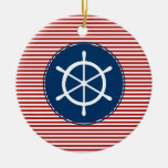 Red Yacht Club Pattern Ornaments