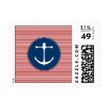Red Yacht Club Pattern Postage