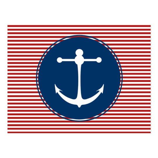 Red Yacht Club Pattern Postcard