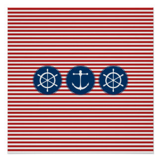 Red Yacht Club Pattern Posters