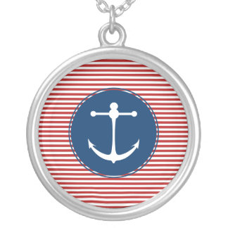 Red Yacht Club Pattern Round Pendant Necklace