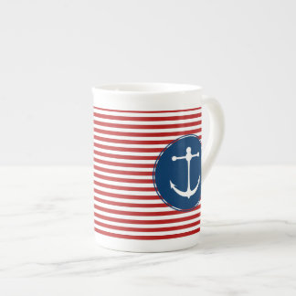 Red Yacht Club Pattern Tea Cup