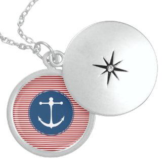 Red Yacht Club Round Locket Necklace