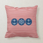 Red Yacht Club Throw Pillow