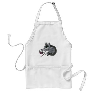 Red Yarn Ball & Earl Gray, the Kitten Adult Apron