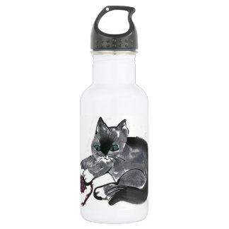 Red Yarn Ball & Earl Gray, the Kitten Stainless Steel Water Bottle