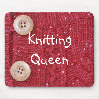 Red Yarn Knit and Two Buttons Knitting Queen Mouse Pad
