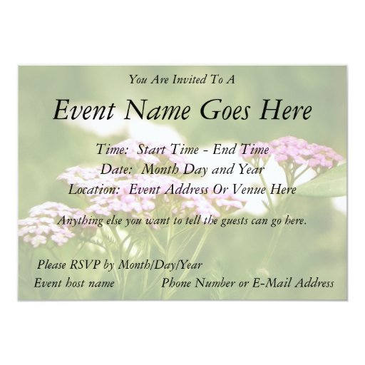 Red Yarrow Flowers 5x7 Paper Invitation Card