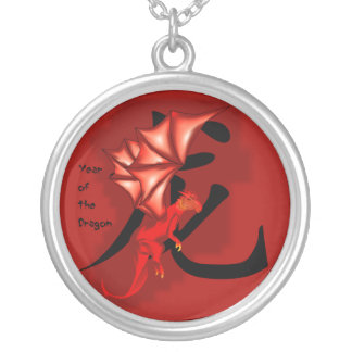 Red year of the dragon round pendant necklace