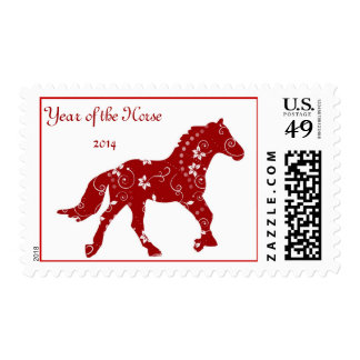 Red Year of the Horse Postage Stamp