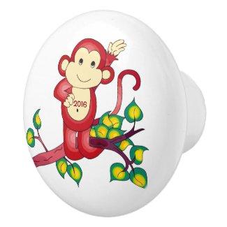 Red Year of the Monkey 2016 Ceramic Knob