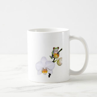 red yed tree frog on orchid coffee mug