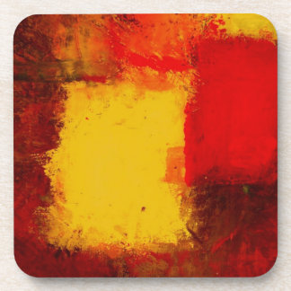 Red Yellow Abstract Beverage Coaster