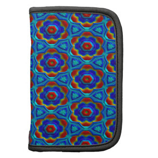 Red & Yellow Abstract Floral Design On Blue. Chic Organizer
