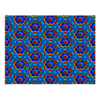 Red & Yellow Abstract Floral Design On Blue. Chic Postcard