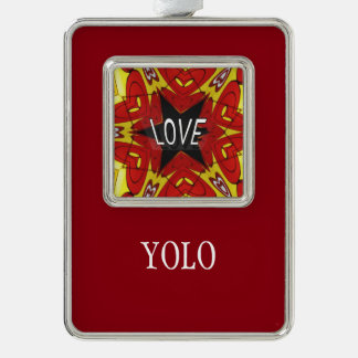 "Red Yellow Abstract ""Love/YOLO"" Trendy Hip Ornamen Christmas Ornament"