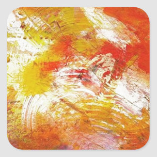 Red Yellow Abstract Square Sticker