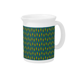 Red, Yellow Abstract Tribal on Teal Pitcher or Jug