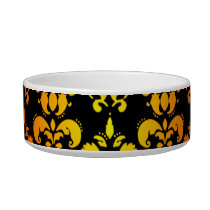 Red, yellow and black damask bowl