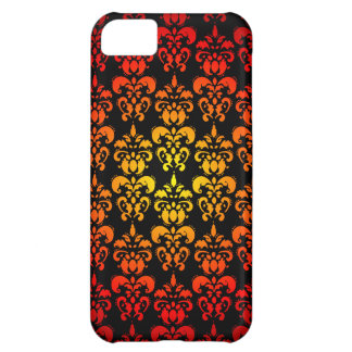 Red, yellow and black damask case for iPhone 5C