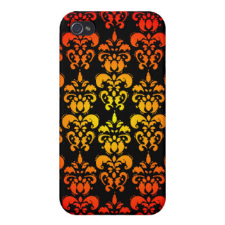 Red, yellow and black damask cover for iPhone 4