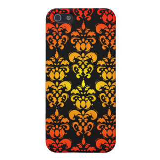 Red, yellow and black damask cover for iPhone SE/5/5s