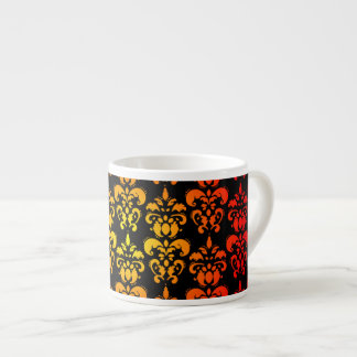 Red, yellow and black damask espresso cup