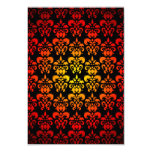 "Red, yellow and black damask 3.5"" x 5"" invitation card"