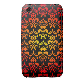 Red, yellow and black damask iPhone 3 cases