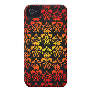 Red, yellow and black damask iPhone 4 cases