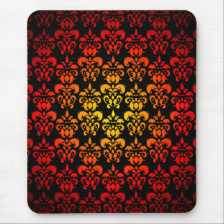 Red, yellow and black damask mouse pad