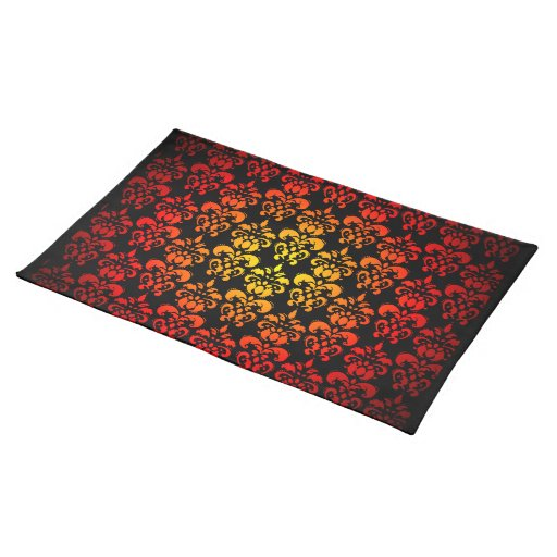 Red, yellow and black damask place mat
