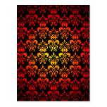 Red, yellow and black damask postcard
