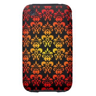Red, yellow and black damask tough iPhone 3 case