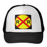 Red, Yellow, And Black Railroad Sign Hat