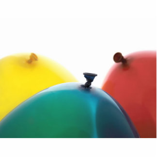 red, yellow and blue balloons photo sculpture