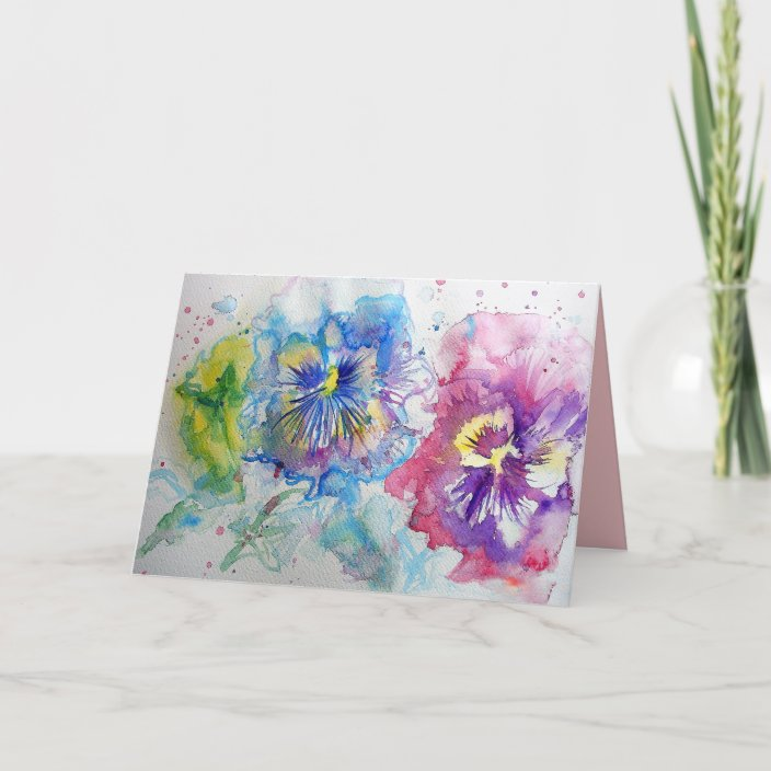 Red,Yellow and Blue Panies flower Watercolour Card | Zazzle.com
