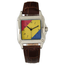 Red Yellow and Blue Tri-Colored Striped Face Wristwatch